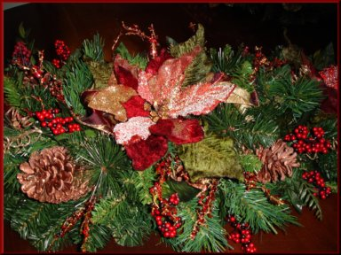 """Red Velvet Poinsetta"" table runner"