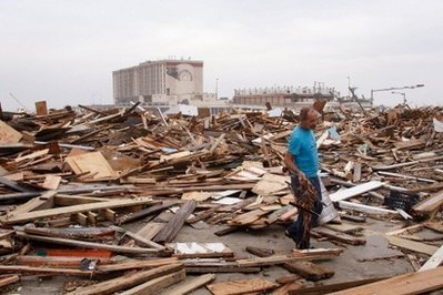 Debris Along the Galveston Seawall After the Storm