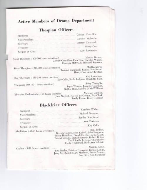 Drama Membership - 1959