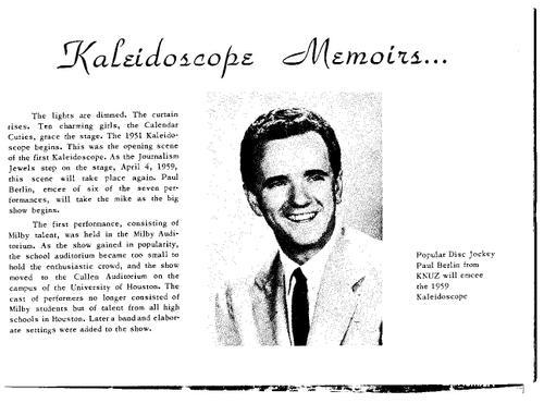 Kaleidoscope 1959, Intro Blurb from Program