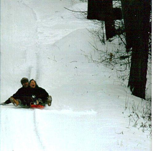 (Ob) Linn & Matthew Sledding Down the Hill