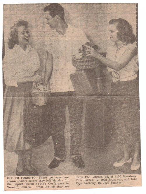 Teens To Baptist World Youth Alliance, June, 1958